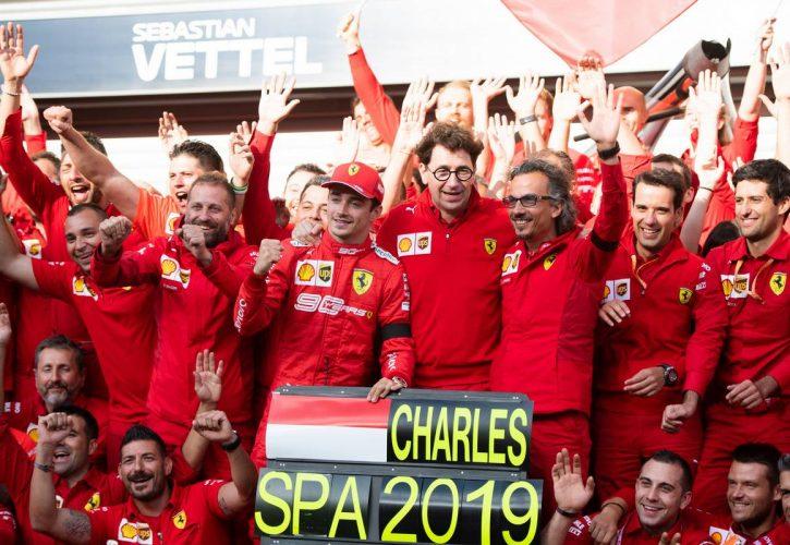 Race winner Charles Leclerc (MON) Ferrari celebrates with the team. 01.09.2019.
