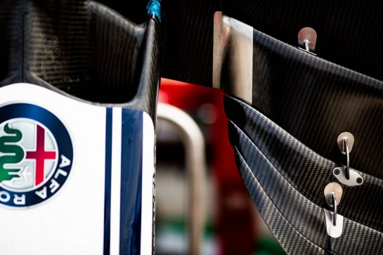 Alfa Romeo Racing C38 front wing detail. 05.09.2019. Formula 1 World Championship, Rd 14, Italian Grand Prix, Monza, Italy, Preparation Day.  - www.xpbimages.com, EMail: requests@xpbimages.com - copy of publication required for printed pictures. Every used picture is fee-liable. © Copyright: Filipe / XPB Images