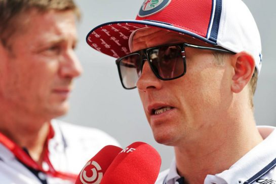 Kimi Raikkonen (FIN) Alfa Romeo Racing with the media. 05.09.2019. Formula 1 World Championship, Rd 14, Italian Grand Prix, Monza, Italy, Preparation Day.  - www.xpbimages.com, EMail: requests@xpbimages.com - copy of publication required for printed pictures. Every used picture is fee-liable. © Copyright: Bearne / XPB Images