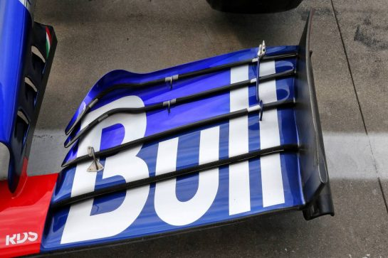 Scuderia Toro Rosso STR14 front wing with new top element. 05.09.2019. Formula 1 World Championship, Rd 14, Italian Grand Prix, Monza, Italy, Preparation Day. - www.xpbimages.com, EMail: requests@xpbimages.com - copy of publication required for printed pictures. Every used picture is fee-liable. © Copyright: Batchelor / XPB Images