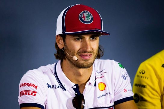 Antonio Giovinazzi (ITA) Alfa Romeo Racing in the FIA Press Conference. 05.09.2019. Formula 1 World Championship, Rd 14, Italian Grand Prix, Monza, Italy, Preparation Day.  - www.xpbimages.com, EMail: requests@xpbimages.com - copy of publication required for printed pictures. Every used picture is fee-liable. © Copyright: Filipe / XPB Images