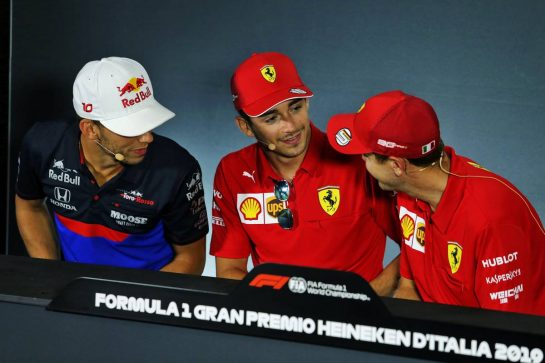 (L to R): Pierre Gasly (FRA) Scuderia Toro Rosso; Charles Leclerc (MON) Ferrari; and Sebastian Vettel (GER) Ferrari, in the FIA Press Conference. 05.09.2019. Formula 1 World Championship, Rd 14, Italian Grand Prix, Monza, Italy, Preparation Day. - www.xpbimages.com, EMail: requests@xpbimages.com - copy of publication required for printed pictures. Every used picture is fee-liable. © Copyright: Moy / XPB Images