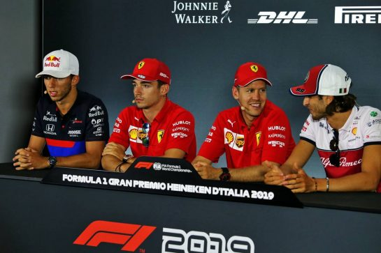 (L to R): Pierre Gasly (FRA) Scuderia Toro Rosso; Charles Leclerc (MON) Ferrari; Sebastian Vettel (GER) Ferrari; and Antonio Giovinazzi (ITA) Alfa Romeo Racing, in the FIA Press Conference. 05.09.2019. Formula 1 World Championship, Rd 14, Italian Grand Prix, Monza, Italy, Preparation Day. - www.xpbimages.com, EMail: requests@xpbimages.com - copy of publication required for printed pictures. Every used picture is fee-liable. © Copyright: Moy / XPB Images