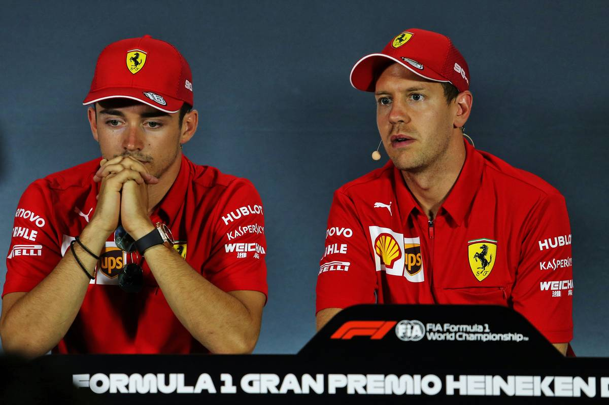 Charles Leclerc (MON) Ferrari and Sebastian Vettel (GER) Ferrari in the FIA Press Conference.