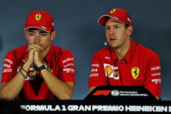 (L to R): Charles Leclerc (MON) Ferrari and Sebastian Vettel (GER) Ferrari in the FIA Press Conference. 05.09.2019. Formula 1 World Championship, Rd 14, Italian Grand Prix, Monza, Italy, Preparation Day. - www.xpbimages.com, EMail: requests@xpbimages.com - copy of publication required for printed pictures. Every used picture is fee-liable. © Copyright: Moy / XPB Images