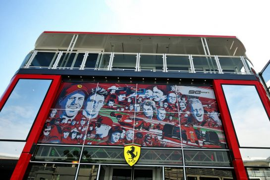 Ferrari motorhome. 05.09.2019. Formula 1 World Championship, Rd 14, Italian Grand Prix, Monza, Italy, Preparation Day. - www.xpbimages.com, EMail: requests@xpbimages.com - copy of publication required for printed pictures. Every used picture is fee-liable. © Copyright: Moy / XPB Images