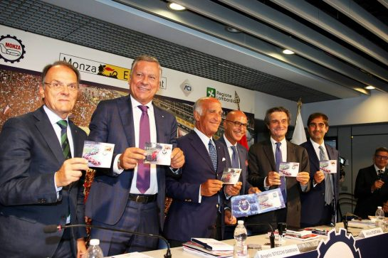 The Italian Grand Prix at Monza is confirmed for a further five years (L to R): Giuseppe Redaelli, President of the Autodrome Nazionale Monza SIAS S.p.A, Dario Allevi, Mayor Municipality of Monza, Angelo Sticchi Damiani, President of the Automobile Club of Italy, Representative of the Italian post office, Attilio Fontana, President of the Lombardy Region and Geronimo La Russa, President Automobile Club Milan. 03.09.2019 Formula 1 World Championship, Rd 14, Italian Grand Prix, Monza, Italy, Preparation Day. - www.xpbimages.com, EMail: requests@xpbimages.com - copy of publication required for printed pictures. Every used picture is fee-liable. © Copyright: Photo4 / XPB Images