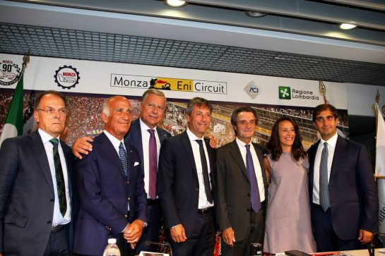 The Italian Grand Prix at Monza is confirmed for a further five years (L to R): Giuseppe Redaelli, President of the Autodrome Nazionale Monza SIAS S.p.A, Angelo Sticchi Damiani, President of the Automobile Club of Italy, Dario Allevi, Mayor Municipality of Monza, Fabrizio Sala, Vice-president of the Lombardy Region, Attilio Fontana, President of the Lombardy Region and Geronimo La Russa, President Automobile Club Milan. 03.09.2019 Formula 1 World Championship, Rd 14, Italian Grand Prix, Monza, Italy, Preparation Day. - www.xpbimages.com, EMail: requests@xpbimages.com - copy of publication required for printed pictures. Every used picture is fee-liable. © Copyright: Photo4 / XPB Images