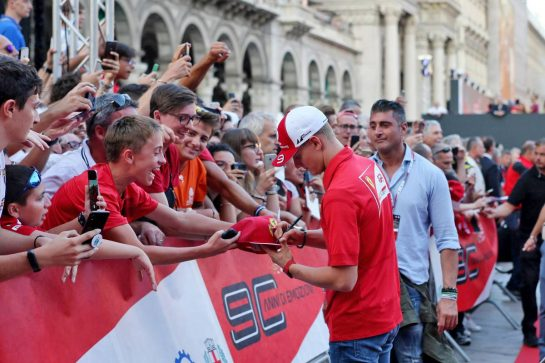 Mick Schumacher (GER) Prema Racing Formula 2 Driver at a street celebration for 90 years of the Italian GP and Ferrari. 04.09.2019. Formula 1 World Championship, Rd 14, Italian Grand Prix, Monza, Italy, Preparation Day. - www.xpbimages.com, EMail: requests@xpbimages.com - copy of publication required for printed pictures. Every used picture is fee-liable. © Copyright: Photo4 / XPB Images