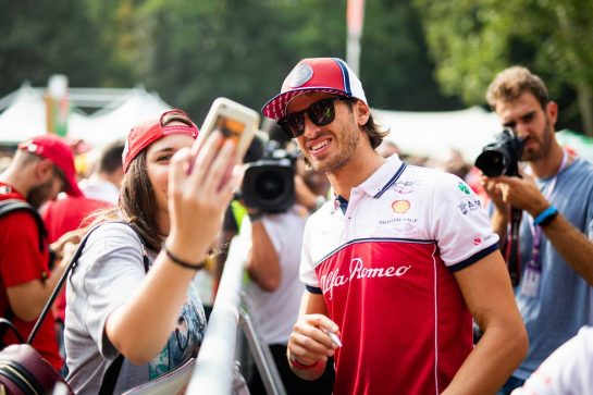 Antonio Giovinazzi (ITA) Alfa Romeo Racing with fans. 05.09.2019. Formula 1 World Championship, Rd 14, Italian Grand Prix, Monza, Italy, Preparation Day.  - www.xpbimages.com, EMail: requests@xpbimages.com - copy of publication required for printed pictures. Every used picture is fee-liable. © Copyright: Filipe / XPB Images