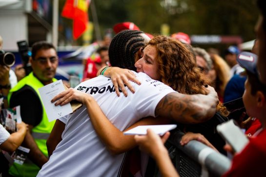 Lewis Hamilton (GBR) Mercedes AMG F1 with fans. 05.09.2019. Formula 1 World Championship, Rd 14, Italian Grand Prix, Monza, Italy, Preparation Day.  - www.xpbimages.com, EMail: requests@xpbimages.com - copy of publication required for printed pictures. Every used picture is fee-liable. © Copyright: Filipe / XPB Images