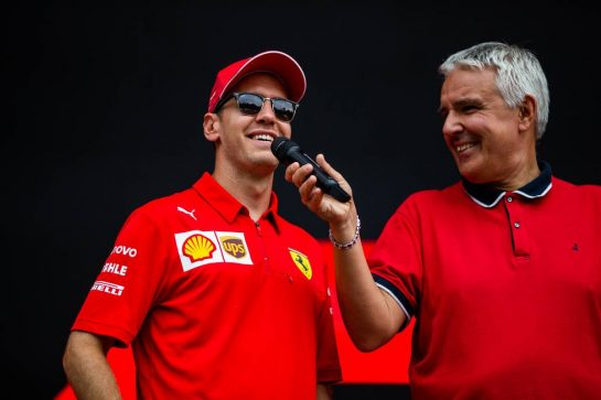 Sebastian Vettel (GER) Ferrari on the FanZone stage. 05.09.2019. Formula 1 World Championship, Rd 14, Italian Grand Prix, Monza, Italy, Preparation Day.  - www.xpbimages.com, EMail: requests@xpbimages.com - copy of publication required for printed pictures. Every used picture is fee-liable. © Copyright: Filipe / XPB Images