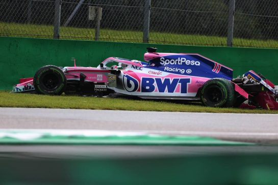 Sergio Perez (MEX) Racing Point F1 Team RP19 crashed in the first practice session.