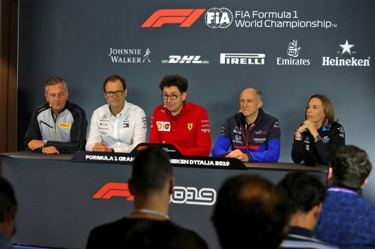 The FIA Press Conference (L to R): Mario Isola (ITA) Pirelli Racing Manager; Aldo Costa (ITA) Mercedes AMG F1 Technical Adviser; Mattia Binotto (ITA) Ferrari Team Principal; Franz Tost (AUT) Scuderia Toro Rosso Team Principal; Claire Williams (GBR) Williams Racing Deputy Team Principal.
