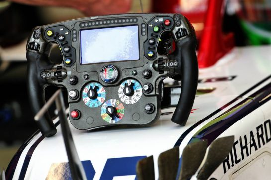 Antonio Giovinazzi (ITA) Alfa Romeo Racing C38 - steering wheel.