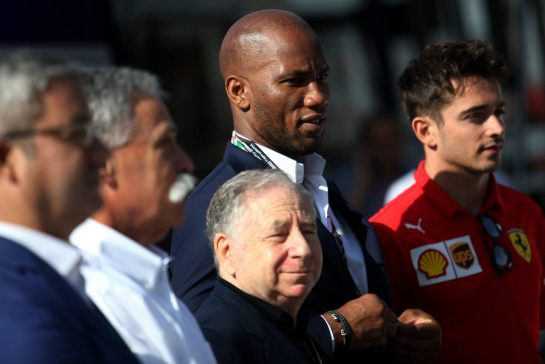 Jean Todt (FIA), Angelo Sticchi Damiani (ITA), Didier Drogba (FRA) and Charles Leclerc (FRA), Scuderia Ferrari unveiling the latest Global Road Safety Campaign.