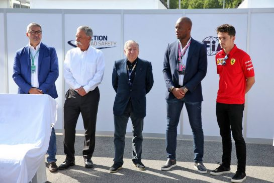 (L to R): Giovanni Uboldi (ITA) IGP Decaux Commercial and Marketing Director; Chase Carey (USA) Formula One Group Chairman; Jean Todt (FRA) FIA President; Didier Drogba (CIV) Former Football Player; Charles Leclerc (MON) Ferrari, at an FIA Road Safety Campaign.