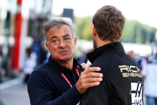 (L to R): Jean Alesi (FRA) with Romain Grosjean (FRA) Haas F1 Team.