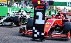 Charles Leclerc (MON) Ferrari SF90 in pole position in qualifying parc ferme.