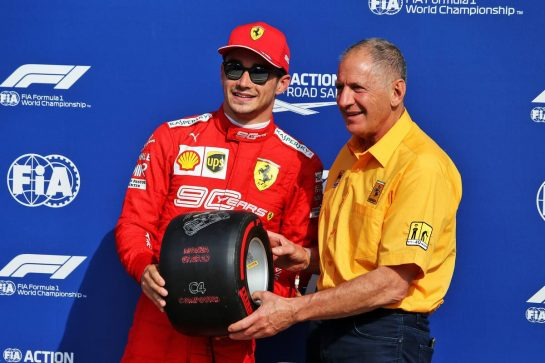 Charles Leclerc (MON) Ferrari receives the Pirelli pole position award from Jody Scheckter (RSA).