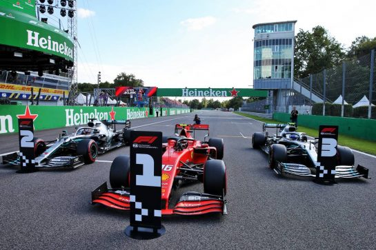 Qualifying top three in parc ferme (L to R): Lewis Hamilton (GBR) Mercedes AMG F1, second; Charles Leclerc (MON) Ferrari, pole position; Valtteri Bottas (FIN) Mercedes AMG F1, third.