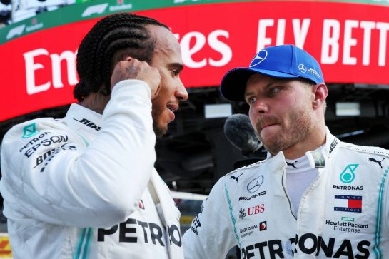 (L to R): Lewis Hamilton (GBR) Mercedes AMG F1 with Valtteri Bottas (FIN) Mercedes AMG F1 in qualifying parc ferme. 07.09.2019. Formula 1 World Championship, Rd 14, Italian Grand Prix, Monza, Italy, Qualifying Day. - www.xpbimages.com, EMail: requests@xpbimages.com - copy of publication required for printed pictures. Every used picture is fee-liable. © Copyright: Batchelor / XPB Images