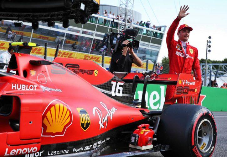 Charles Leclerc (MON) Ferrari SF90 celebrates his pole position in qualifying parc ferme.