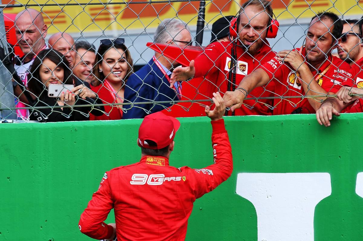 Charles Leclerc (MON) Ferrari celebrates his pole position in qualifying parc ferme.