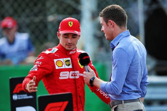 Charles Leclerc (MON) Ferrari with Paul di Resta (GBR) Sky Sports F1 Presenter in qualifying parc ferme.