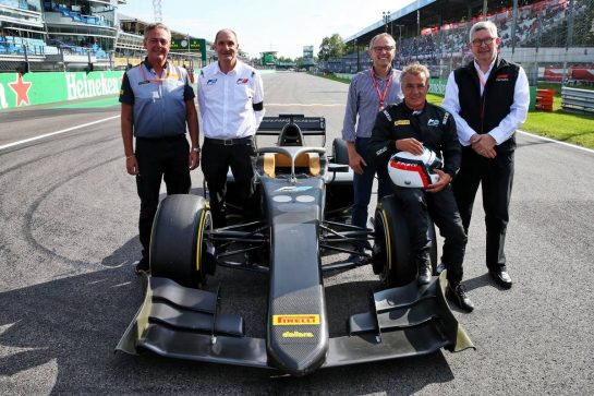 (L to R): Mario Isola (ITA) Pirelli Racing Manager; Bruno Michel (FRA) F2 CEO; Stefano Domenicali (ITA) FIA Single-Seater Commission President; Jean Alesi (FRA); Ross Brawn (GBR) Managing Director, Motor Sports - 2020 Pirelli tyres unveil. 07.09.2019. Formula 1 World Championship, Rd 14, Italian Grand Prix, Monza, Italy, Qualifying Day. - www.xpbimages.com, EMail: requests@xpbimages.com - copy of publication required for printed pictures. Every used picture is fee-liable. © Copyright: Batchelor / XPB Images