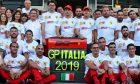 Mattia Binotto (ITA) Ferrari Team Principal; Charles Leclerc (MON) Ferrari; and Sebastian Vettel (GER) Ferrari, at a 90th anniversary team photograph.