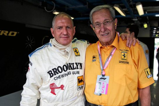 Jody Scheckter (RSA) with Mauro Forghieri (ITA). 07.09.2019. Formula 1 World Championship, Rd 14, Italian Grand Prix, Monza, Italy, Qualifying Day. - www.xpbimages.com, EMail: requests@xpbimages.com - copy of publication required for printed pictures. Every used picture is fee-liable. © Copyright: Photo4 / XPB Images