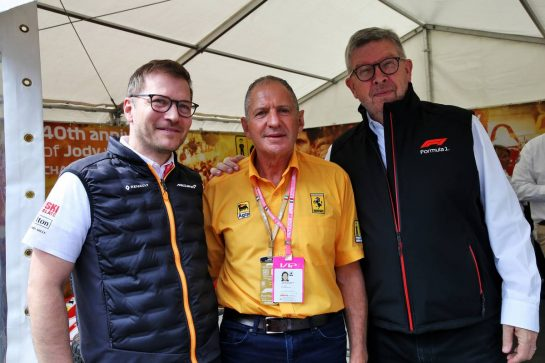 (L to R): Andreas Seidl, McLaren Managing Director with Jody Scheckter (RSA) and Ross Brawn (GBR) Managing Director, Motor Sports. 08.09.2019. Formula 1 World Championship, Rd 14, Italian Grand Prix, Monza, Italy, Race Day. - www.xpbimages.com, EMail: requests@xpbimages.com - copy of publication required for printed pictures. Every used picture is fee-liable. © Copyright: Batchelor / XPB Images