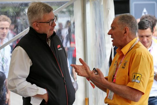(L to R): Ross Brawn (GBR) Managing Director, Motor Sports with Jody Scheckter (RSA). 08.09.2019. Formula 1 World Championship, Rd 14, Italian Grand Prix, Monza, Italy, Race Day. - www.xpbimages.com, EMail: requests@xpbimages.com - copy of publication required for printed pictures. Every used picture is fee-liable. © Copyright: Batchelor / XPB Images