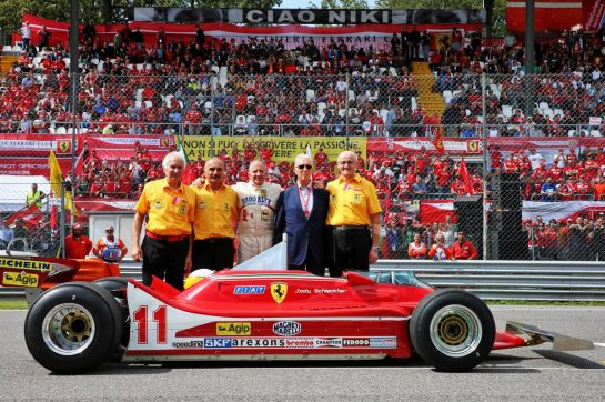 Jody Scheckter (RSA) with his 1979 Ferrari 312T4, his mechanics, and Piero Ferrari (ITA) Ferrari Vice-President. 08.09.2019. Formula 1 World Championship, Rd 14, Italian Grand Prix, Monza, Italy, Race Day. - www.xpbimages.com, EMail: requests@xpbimages.com - copy of publication required for printed pictures. Every used picture is fee-liable. © Copyright: Batchelor / XPB Images