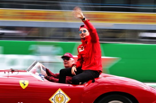 Charles Leclerc (MON) Ferrari on the drivers parade.