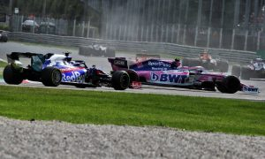 Lance Stroll (CDN) Racing Point F1 Team RP19 returns to the circuit ahead of Pierre Gasly (FRA) Scuderia Toro Rosso STR14 after spinning during the race. 08.09.2019