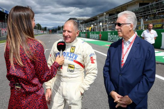 (L to R): Federica Masolin (ITA) Sky F1 Italia Presenter with Jody Scheckter (RSA) and Piero Ferrari (ITA) Ferrari Vice-President. 08.09.2019. Formula 1 World Championship, Rd 14, Italian Grand Prix, Monza, Italy, Race Day. - www.xpbimages.com, EMail: requests@xpbimages.com - copy of publication required for printed pictures. Every used picture is fee-liable. © Copyright: Batchelor / XPB Images
