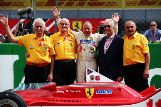 Jody Scheckter (RSA) with his Ferrari 312T4, his old mechanics and Piero Ferrari (ITA) Ferrari Vice-President.
