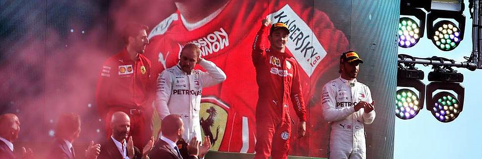 The podium (L to R): Lewis Hamilton (GBR) Mercedes AMG F1, second; Charles Leclerc (MON) Ferrari, race winner; Valtteri Bottas (FIN) Mercedes AMG F1,