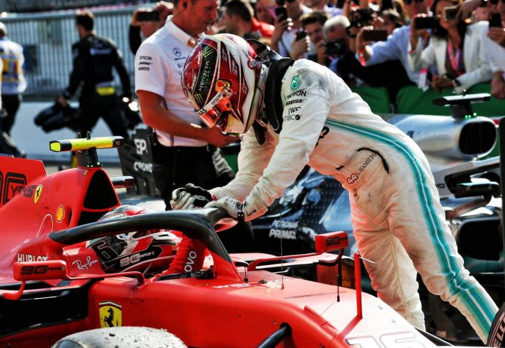Race winner Charles Leclerc (MON) Ferrari SF90 is congratulated in parc ferme by third placed Lewis Hamilton