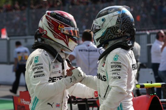 Lewis Hamilton (GBR) Mercedes AMG F1 W10 and Valtteri Bottas (FIN) Mercedes AMG F1 W10.08.09.2019. Formula 1 World Championship, Rd 14, Italian Grand Prix, Monza, Italy, Race Day.- www.xpbimages.com, EMail: requests@xpbimages.com - copy of publication required for printed pictures. Every used picture is fee-liable. © Copyright: Batchelor / XPB Images