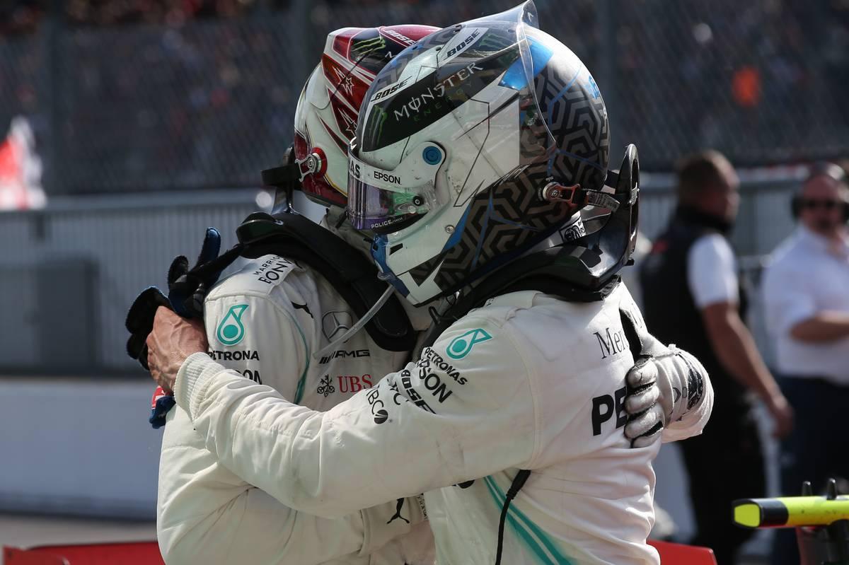 Lewis Hamilton (GBR) Mercedes AMG F1 W10 and Valtteri Bottas (FIN) Mercedes AMG F1 W10.
