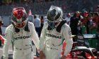 Lewis Hamilton (GBR) Mercedes AMG F1 W10 with Valtteri Bottas (FIN) Mercedes AMG F1 W10