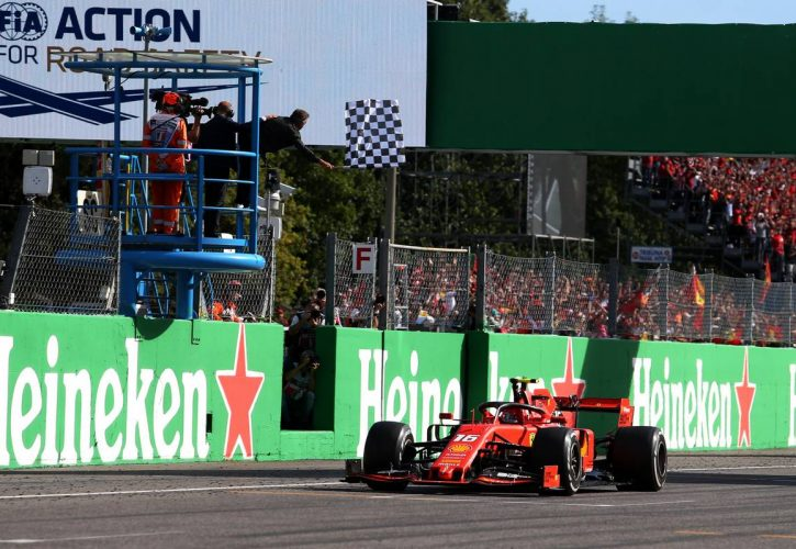Race winner Charles Leclerc (MON) Ferrari SF90 takes the chequered flag at the end of the race.