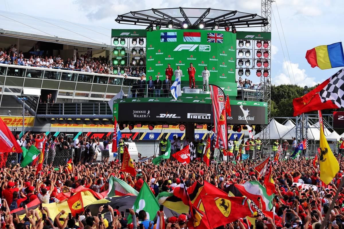 The podium (L to R): Valtteri Bottas (FIN) Mercedes AMG F1, second; Charles Leclerc (MON) Ferrari, race winner; Lewis Hamilton (GBR) Mercedes AMG F1 third.