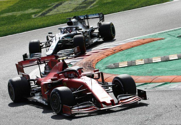 Charles Leclerc (MON) Ferrari SF90 leads Lewis Hamilton (GBR) Mercedes AMG F1 W10.