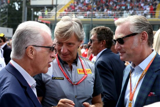 Piero Ferrari (ITA) Ferrari Vice-President. with Sean Bratches (USA) Formula 1 Managing Director