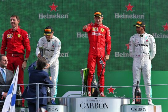 The podium (L to R): Valtteri Bottas (FIN) Mercedes AMG F1, second; Charles Leclerc (MON) Ferrari, race winner; Lewis Hamilton (GBR) Mercedes AMG F1 third.