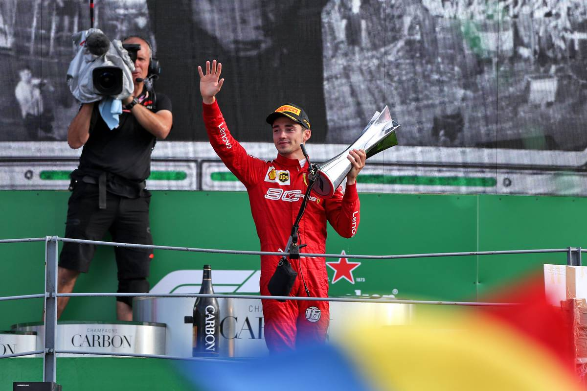 Race winner Charles Leclerc (MON) Ferrari celebrates on the podium.